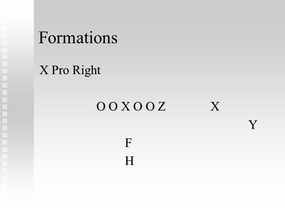 Formations X Pro Right O O X O O ZX YFH