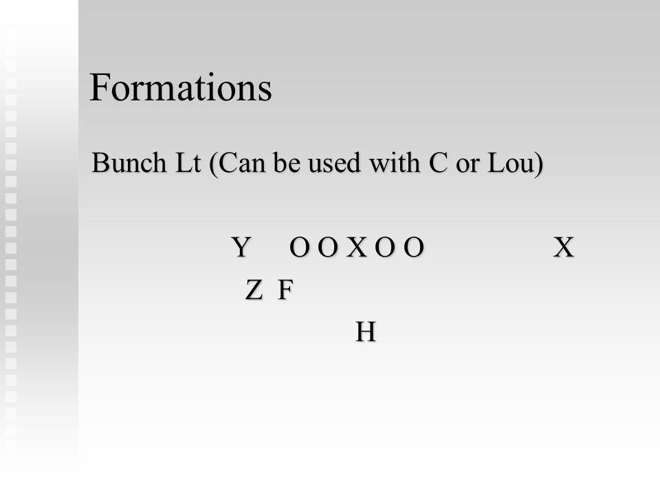 Formations Bunch Lt (Can be used with C or Lou) YO O X O OX YO O X O OX Z F Z FH