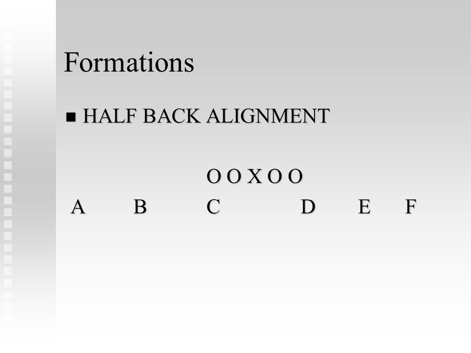 Formations HALF BACK ALIGNMENT HALF BACK ALIGNMENT O O X O O A BCD E F A BCD E F