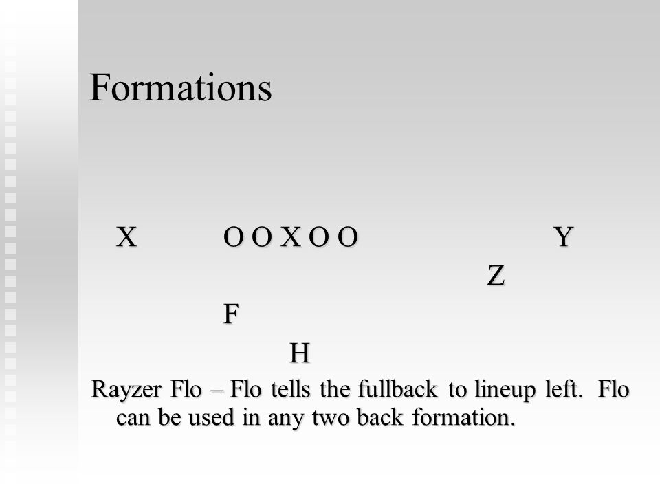 Formations X O O X O OY ZFH Rayzer Flo – Flo tells the fullback to lineup left. Flo can be used in any two back formation.
