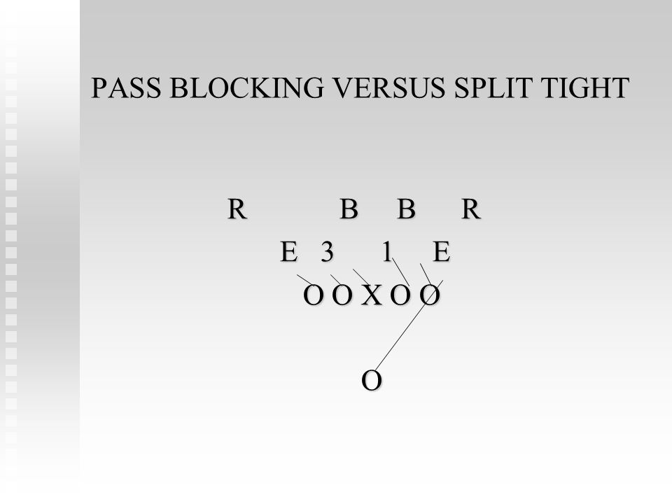 PASS BLOCKING VERSUS SPLIT TIGHT R B B R E 3 1 E E 3 1 E O O X O O O