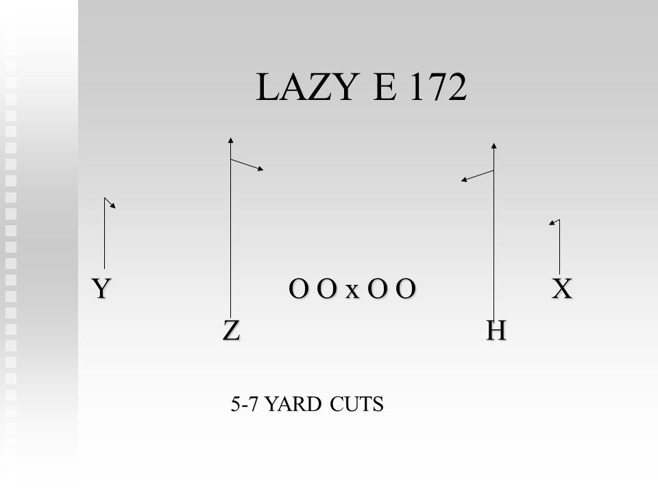 LAZY E 172 YO O x O OX ZH 5-7 YARD CUTS