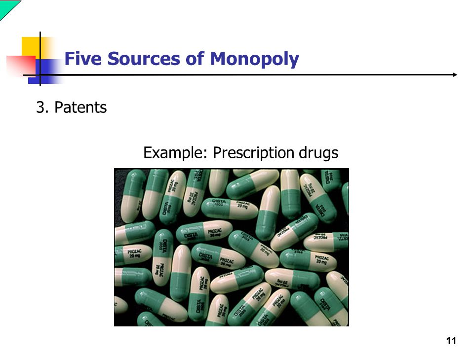 11 Five Sources of Monopoly 3. Patents Example: Prescription drugs
