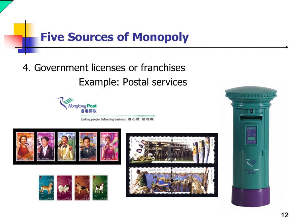 12 Five Sources of Monopoly 4. Government licenses or franchises Example: Postal services