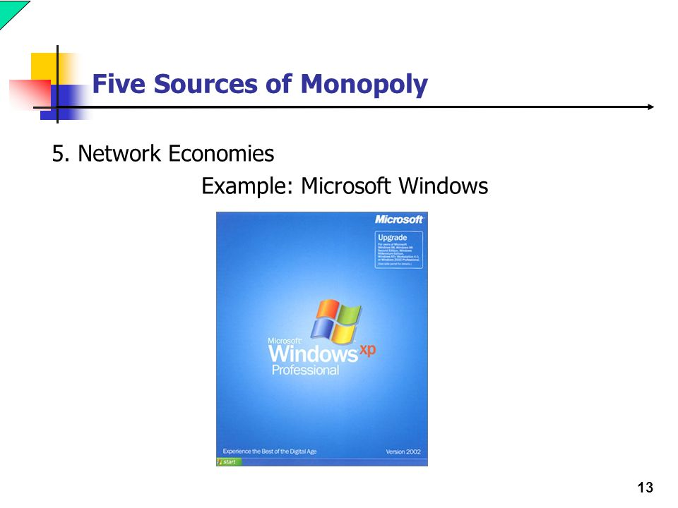13 Five Sources of Monopoly 5. Network Economies Example: Microsoft Windows