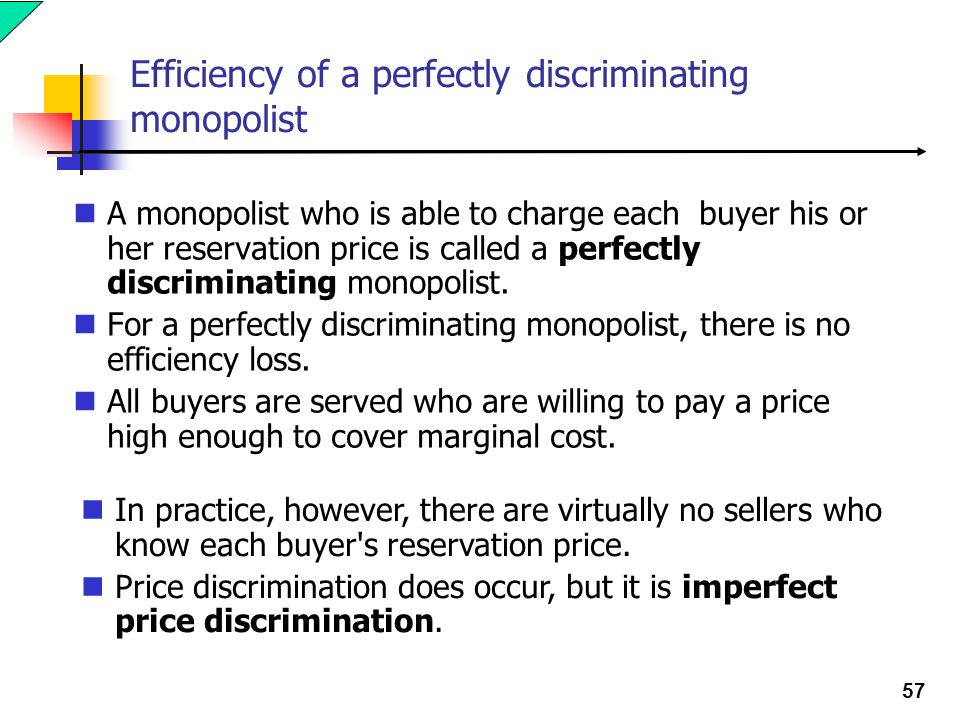 57 Efficiency of a perfectly discriminating monopolist A monopolist who is able to charge each buyer his or her reservation price is called a perfectly discriminating monopolist.