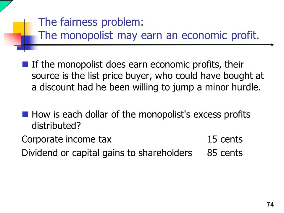 74 The fairness problem: The monopolist may earn an economic profit.