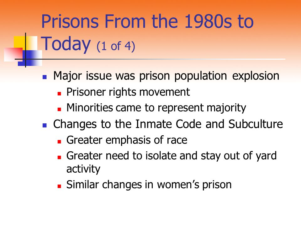 Prisons From the 1980s to Today (1 of 4) Major issue was prison population explosion Prisoner rights movement Minorities came to represent majority Ch