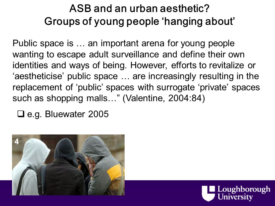 ASB and an urban aesthetic. Groups of young people 'hanging about'  e.g.