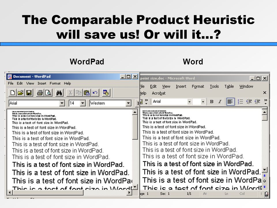 The Comparable Product Heuristic will save us! Or will it…? WordPad Word