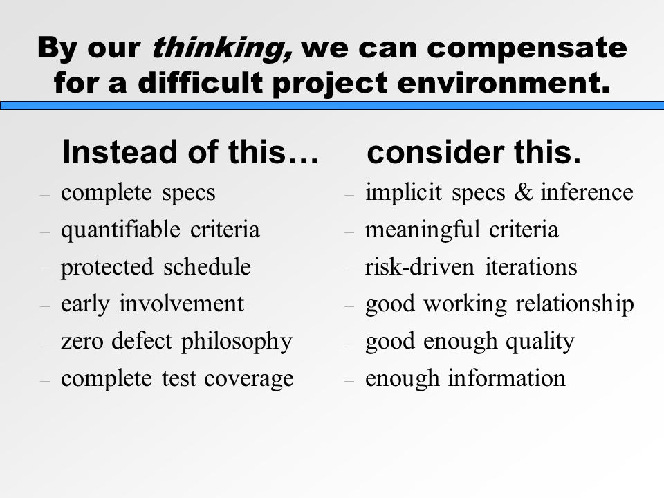 By our thinking, we can compensate for a difficult project environment.