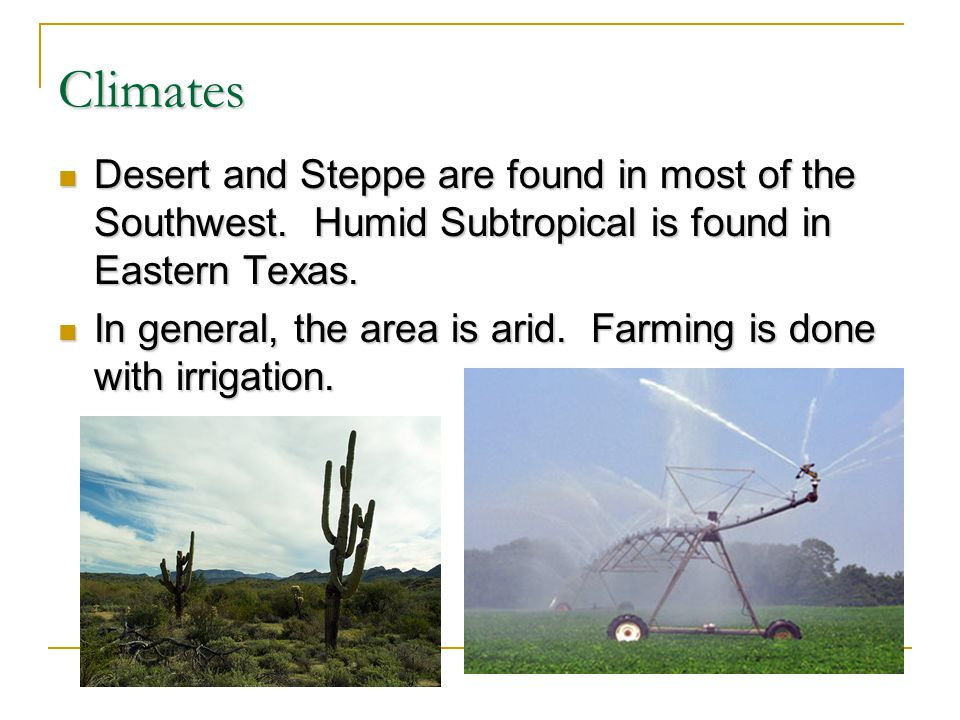 Climates Desert and Steppe are found in most of the Southwest. Humid Subtropical is found in Eastern Texas. Desert and Steppe are found in most of the