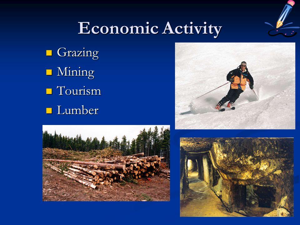 Economic Activity Grazing Grazing Mining Mining Tourism Tourism Lumber Lumber