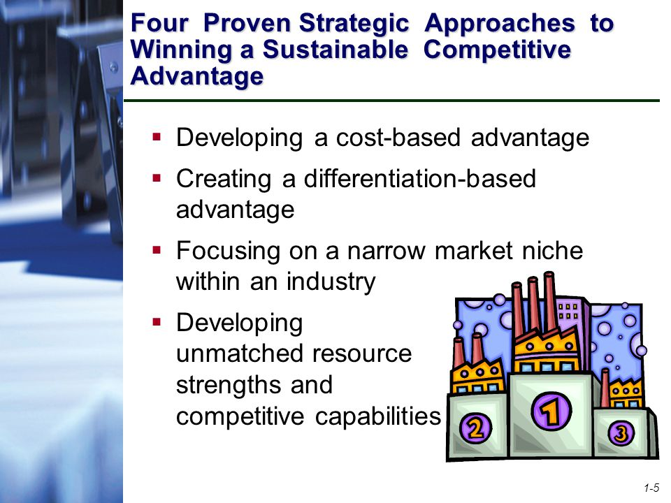 1-6 Competitive Strategy Examples  Strive to be the industry's low-cost provider Wal-Mart Southwest Airlines  Out-compete rivals on a key differentiating feature Harley-Davidson – Outlaw image and distinctive engine sound Rolex – Top-of-the-line prestige Amazon.com – Wide selection and convenience Amazon.com
