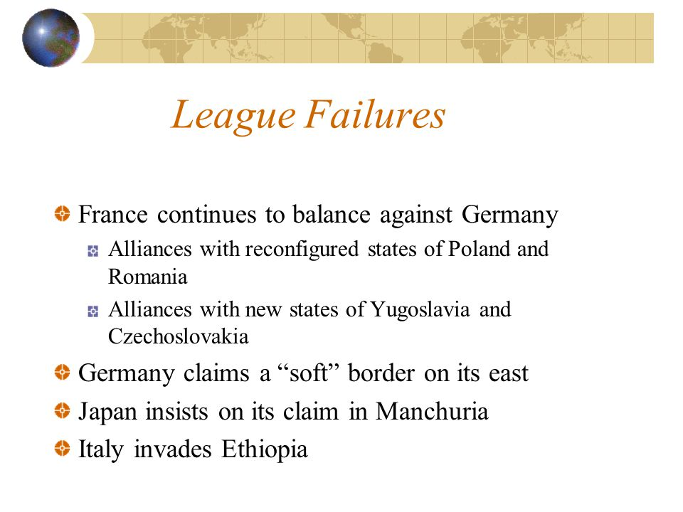 League Successes Brokered agreement between Greece and Bulgaria, avoiding war Supervised peace and disarmament negotiations 1921 Washington Treaty Conference 1928 Kellogg-Briand Pact