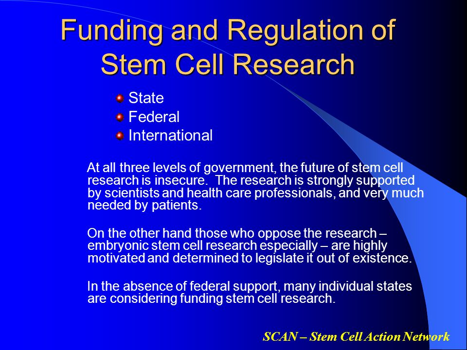 SCAN – Stem Cell Action Network Funding and Regulation of Stem Cell Research Funding and Regulation of Stem Cell Research State Federal International At all three levels of government, the future of stem cell research is insecure.