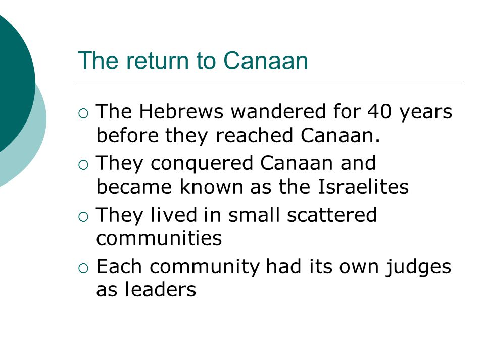 The return to Canaan  The Hebrews wandered for 40 years before they reached Canaan.