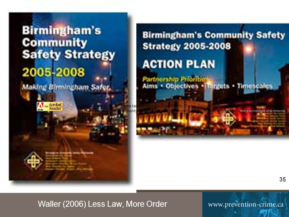 Waller (2006) Less Law, More Order 35 A detailed breakdown of the targets for each Core Priority Theme Group is contained in an Action Plan published separately.