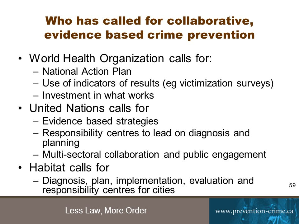 Less Law, More Order 59 Who has called for collaborative, evidence based crime prevention World Health Organization calls for: –National Action Plan –Use of indicators of results (eg victimization surveys) –Investment in what works United Nations calls for –Evidence based strategies –Responsibility centres to lead on diagnosis and planning –Multi-sectoral collaboration and public engagement Habitat calls for –Diagnosis, plan, implementation, evaluation and responsibility centres for cities