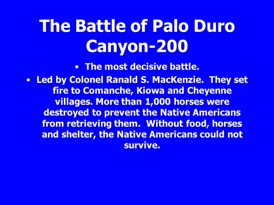 The Battle of Palo Duro Canyon-200 The most decisive battle. Led by Colonel Ranald S. MacKenzie. They set fire to Comanche, Kiowa and Cheyenne village