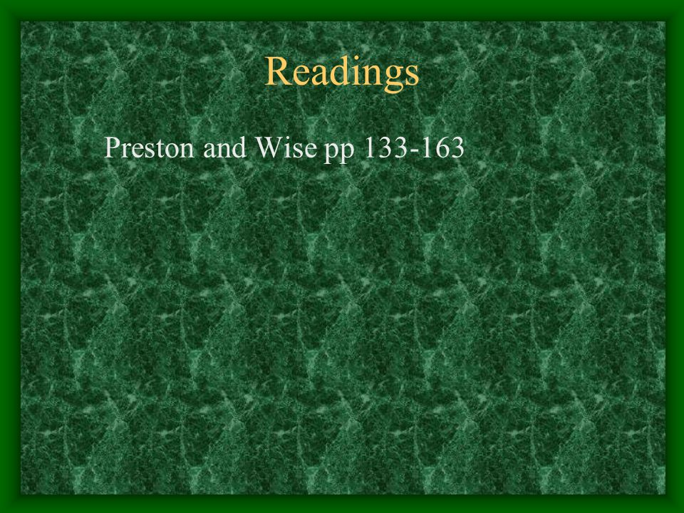 Readings Preston and Wise pp 133-163