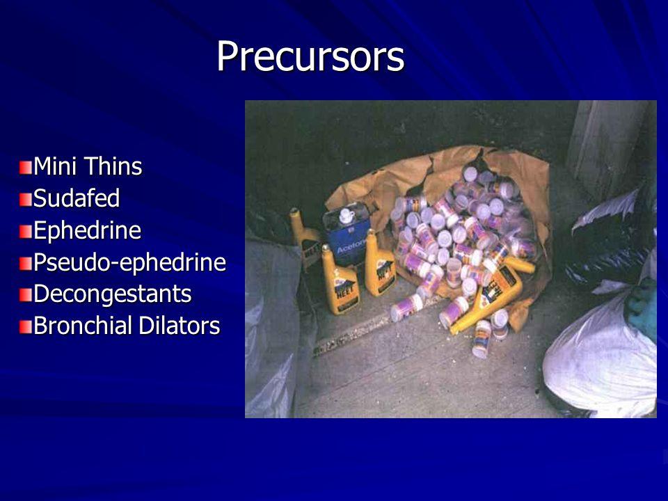 Precursors Mini Thins SudafedEphedrinePseudo-ephedrineDecongestants Bronchial Dilators