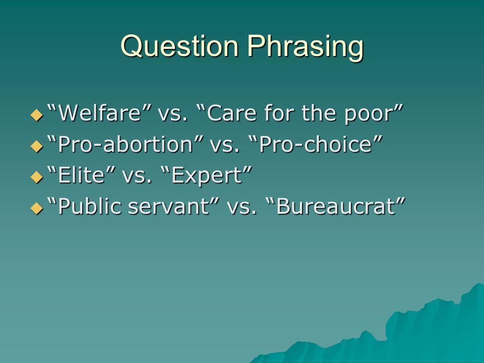 " ""Welfare"" vs. ""Care for the poor""  ""Pro-abortion"" vs. ""Pro-choice""  ""Elite"" vs. ""Expert""  ""Public servant"" vs. ""Bureaucrat"" Question Phrasing"
