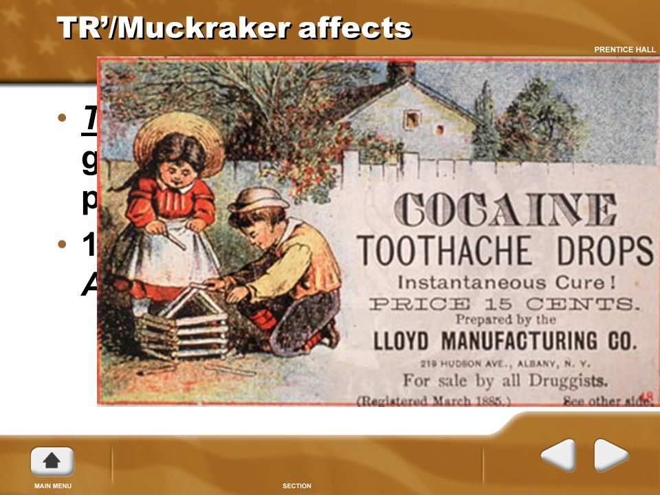 TR'/Muckraker affects The Meat Inspection Act gave the government the right to inspect plants. 1906 The Pure Food and Drug Act was passed