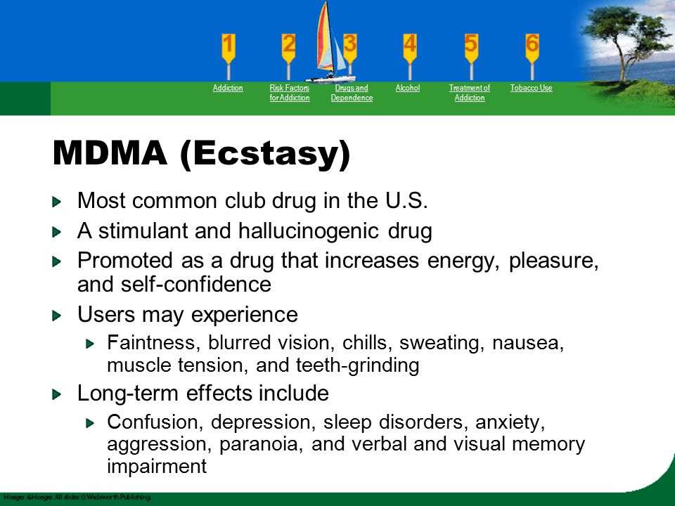 MDMA (Ecstasy) Most common club drug in the U.S. A stimulant and hallucinogenic drug Promoted as a drug that increases energy, pleasure, and self-conf