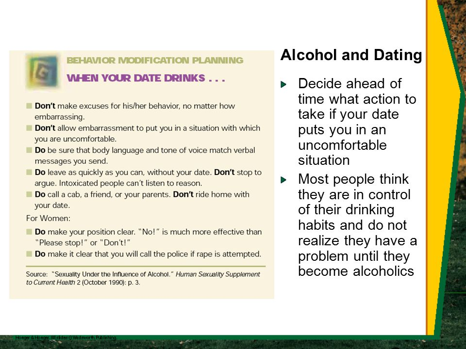 Alcohol and Dating Decide ahead of time what action to take if your date puts you in an uncomfortable situation Most people think they are in control