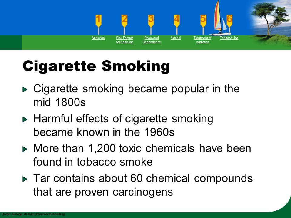 Cigarette Smoking Cigarette smoking became popular in the mid 1800s Harmful effects of cigarette smoking became known in the 1960s More than 1,200 tox