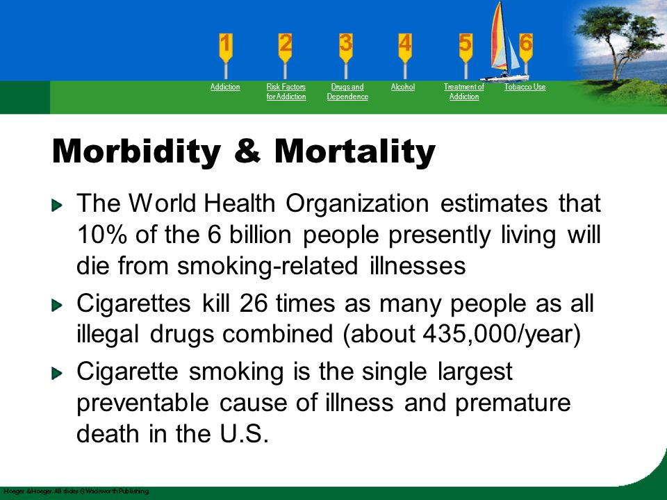 Morbidity & Mortality The World Health Organization estimates that 10% of the 6 billion people presently living will die from smoking-related illnesse