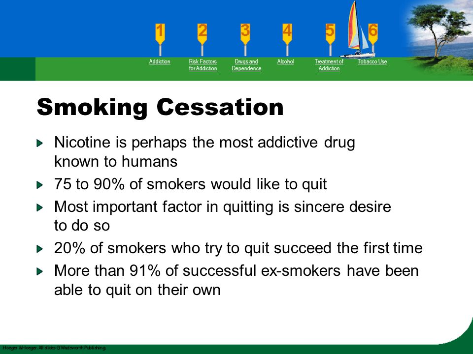 Smoking Cessation Nicotine is perhaps the most addictive drug known to humans 75 to 90% of smokers would like to quit Most important factor in quittin