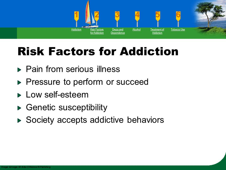Risk Factors for Addiction Pain from serious illness Pressure to perform or succeed Low self-esteem Genetic susceptibility Society accepts addictive b