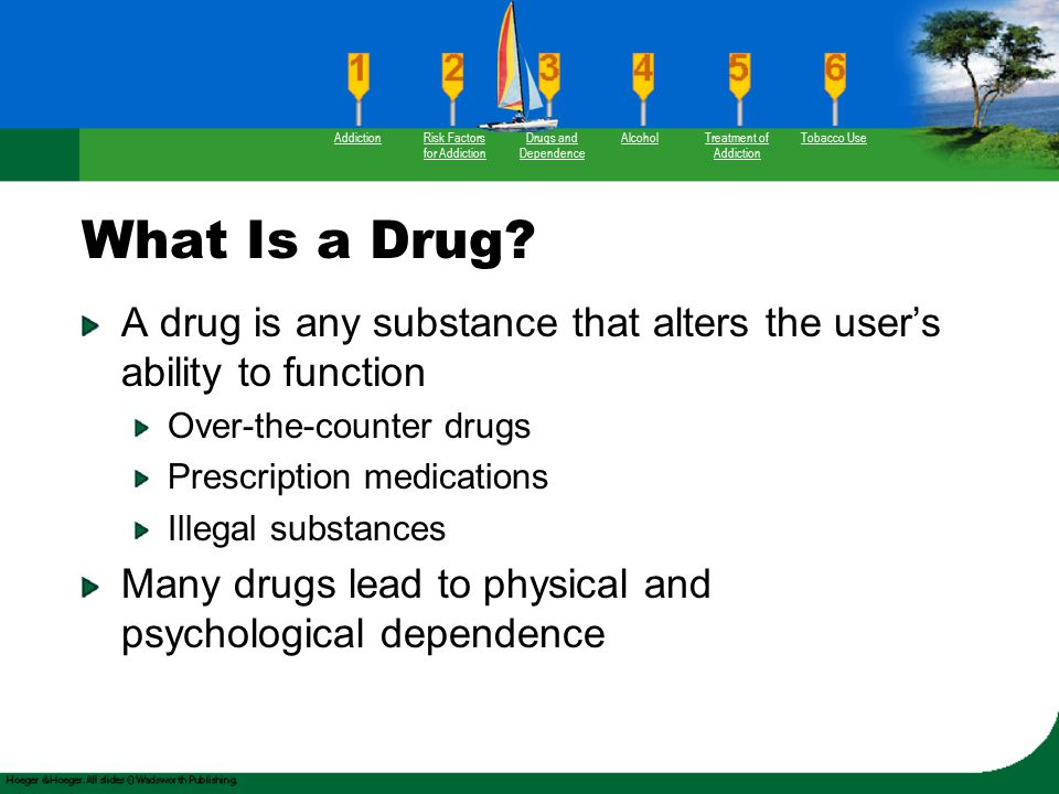 What Is a Drug? A drug is any substance that alters the user's ability to function Over-the-counter drugs Prescription medications Illegal substances
