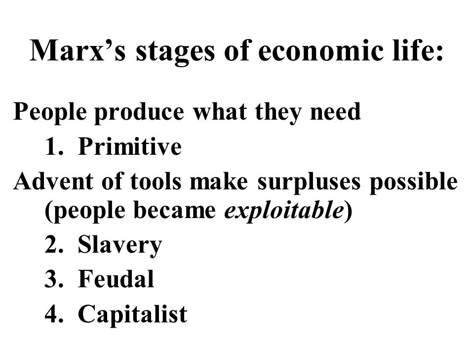 Marx's stages of economic life: People produce what they need 1.