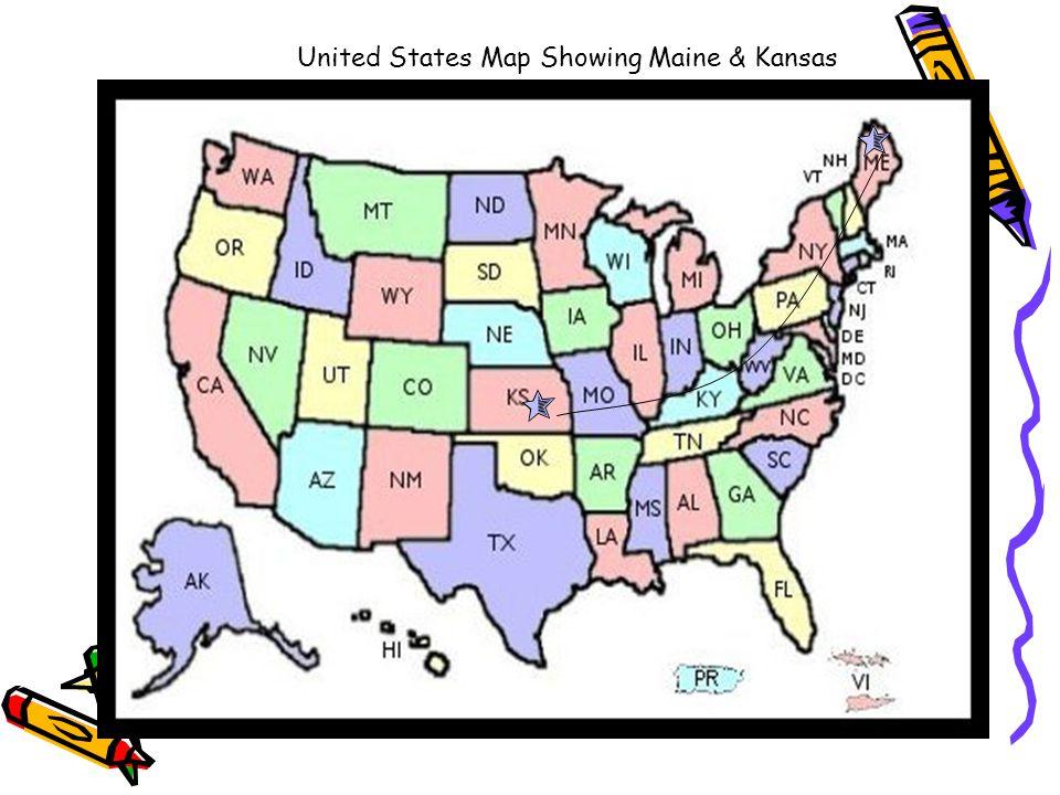 United States Map Showing Maine & Kansas