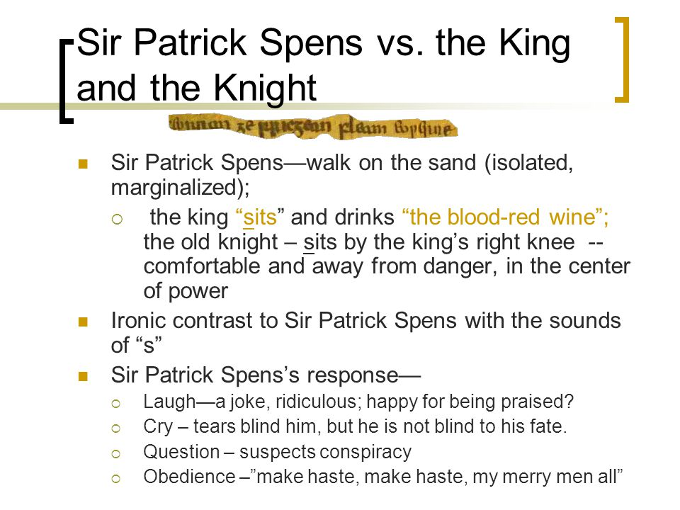 Sir Patrick Spens vs.