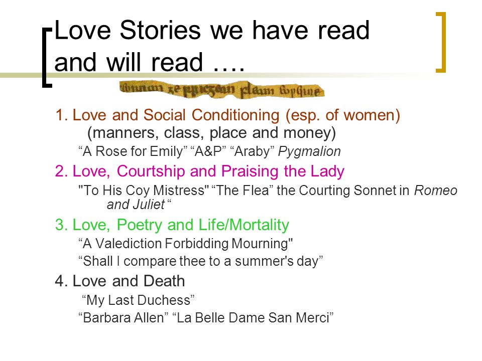 Love Stories we have read and will read …. 1. Love and Social Conditioning (esp.