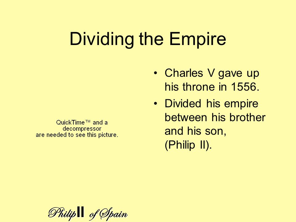 Dividing the Empire Charles V gave up his throne in 1556.