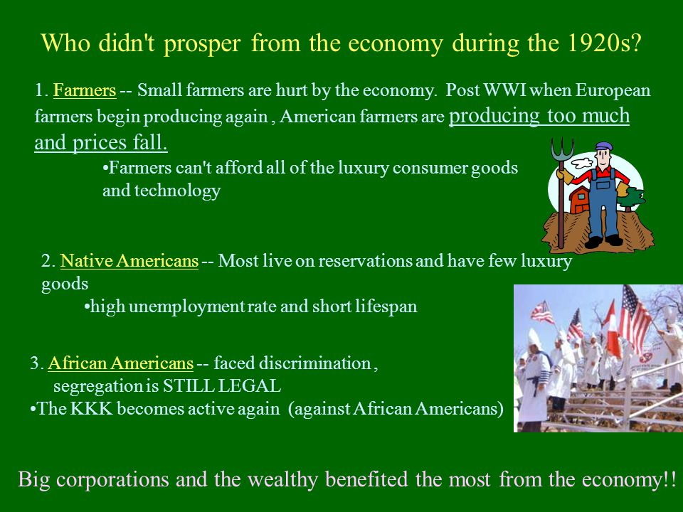 Who didn t prosper from the economy during the 1920s.