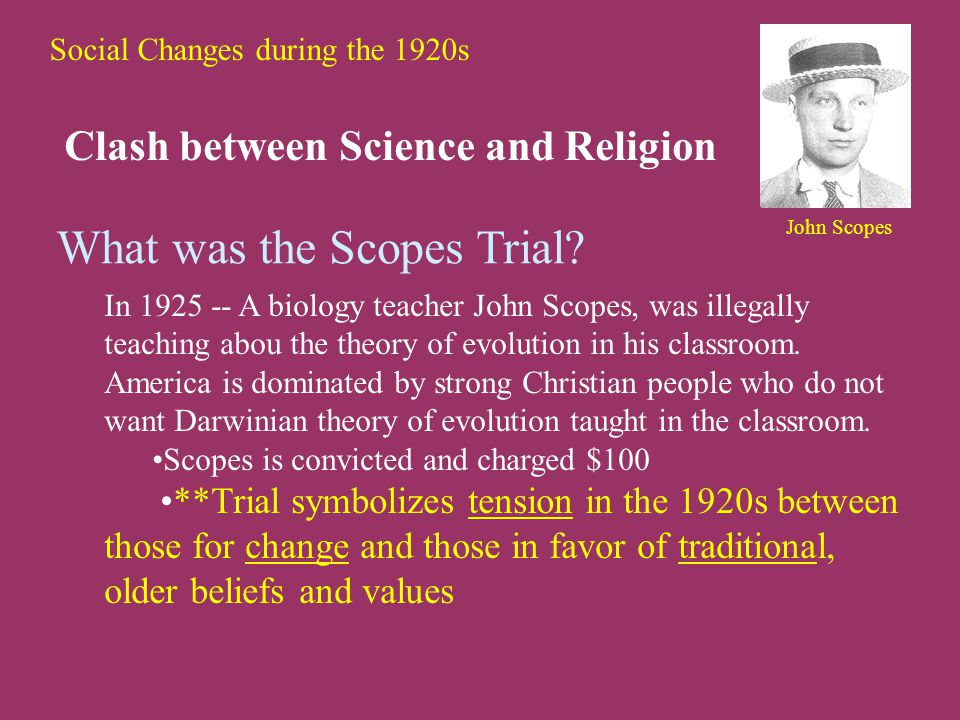 Social Changes during the 1920s Clash between Science and Religion What was the Scopes Trial.