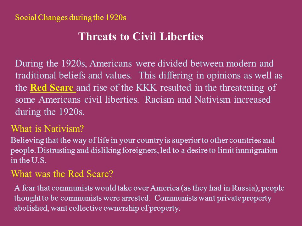 Social Changes during the 1920s Threats to Civil Liberties During the 1920s, Americans were divided between modern and traditional beliefs and values.