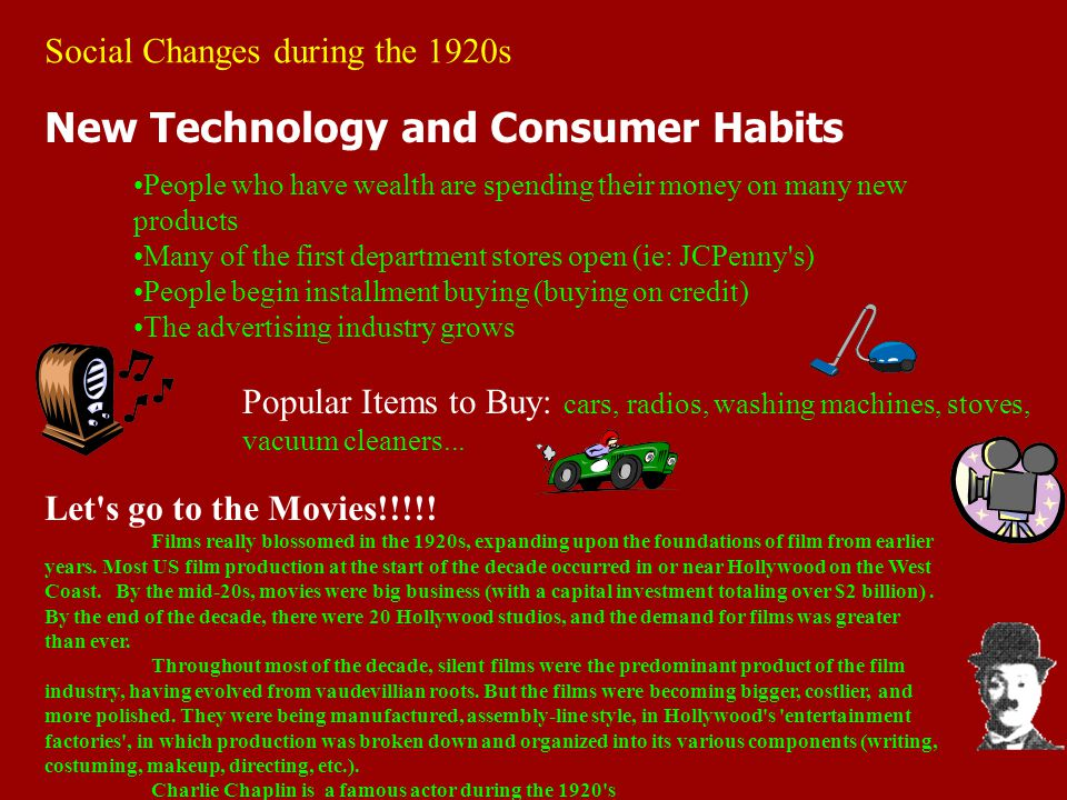 Social Changes during the 1920s New Technology and Consumer Habits People who have wealth are spending their money on many new products Many of the fi