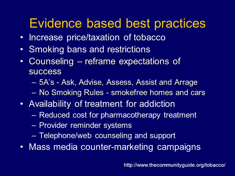 Evidence based best practices Increase price/taxation of tobacco Smoking bans and restrictions Counseling – reframe expectations of successCounseling – reframe expectations of success –5A's - Ask, Advise, Assess, Assist and Arrage –No Smoking Rules - smokefree homes and cars Availability of treatment for addiction –Reduced cost for pharmacotherapy treatment –Provider reminder systems –Telephone/web counseling and support Mass media counter-marketing campaigns http://www.thecommunityguide.org/tobacco/