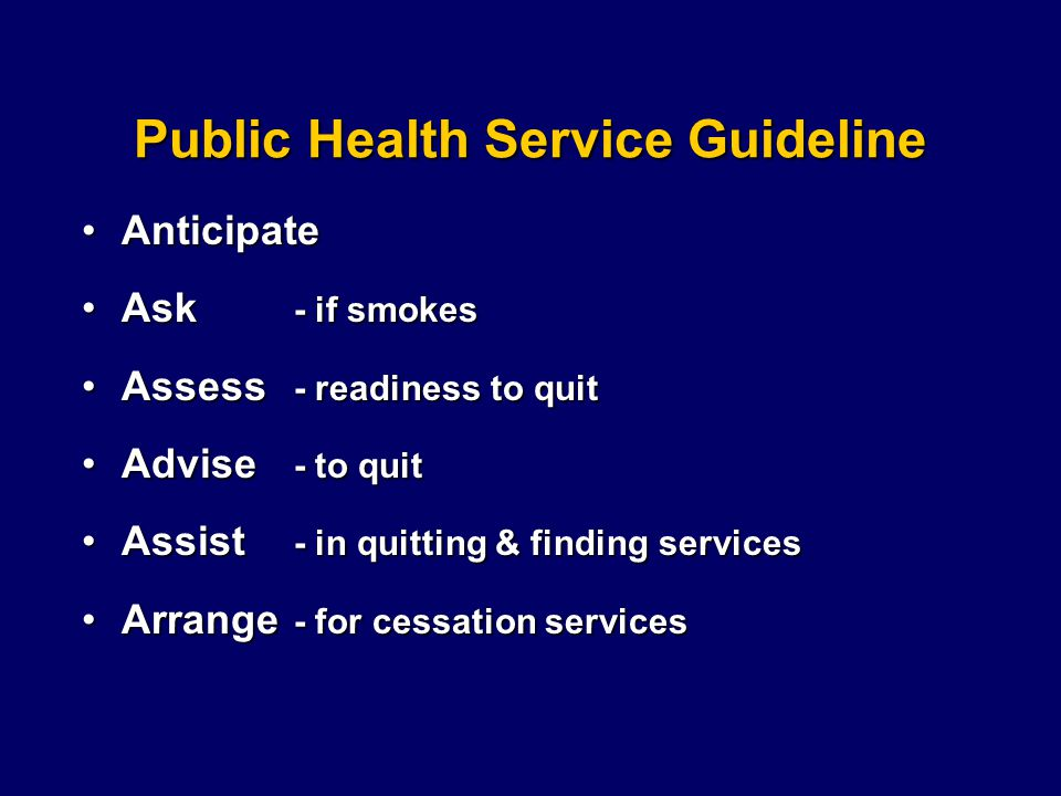 Public Health Service Guideline AnticipateAnticipate Ask - if smokesAsk - if smokes Assess - readiness to quitAssess - readiness to quit Advise - to quitAdvise - to quit Assist - in quitting & finding servicesAssist - in quitting & finding services Arrange - for cessation servicesArrange - for cessation services