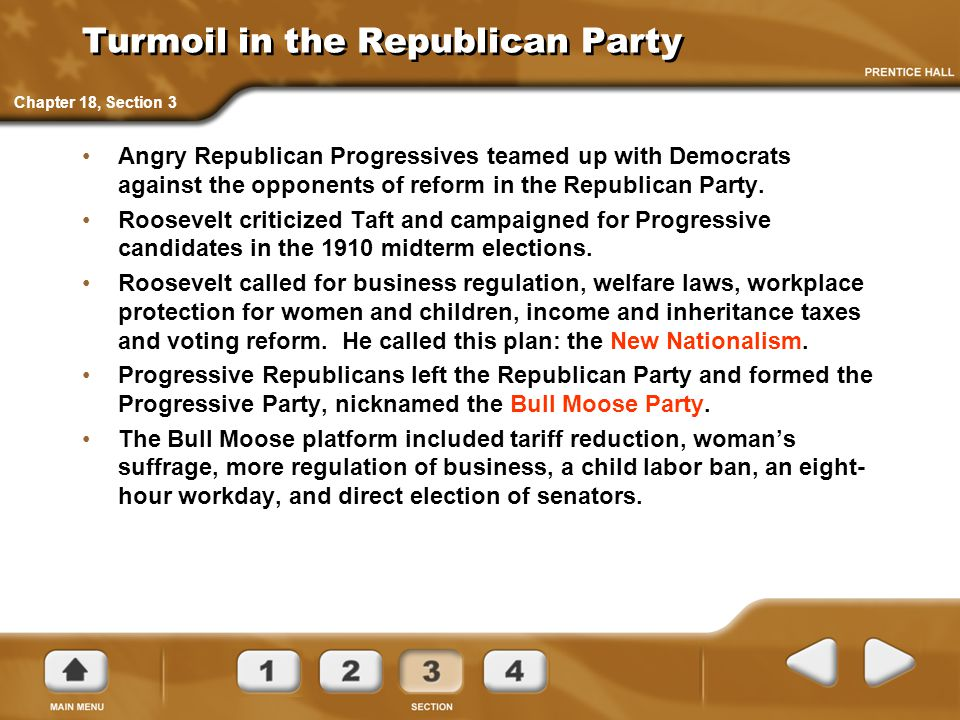 Turmoil in the Republican Party Angry Republican Progressives teamed up with Democrats against the opponents of reform in the Republican Party. Roosev