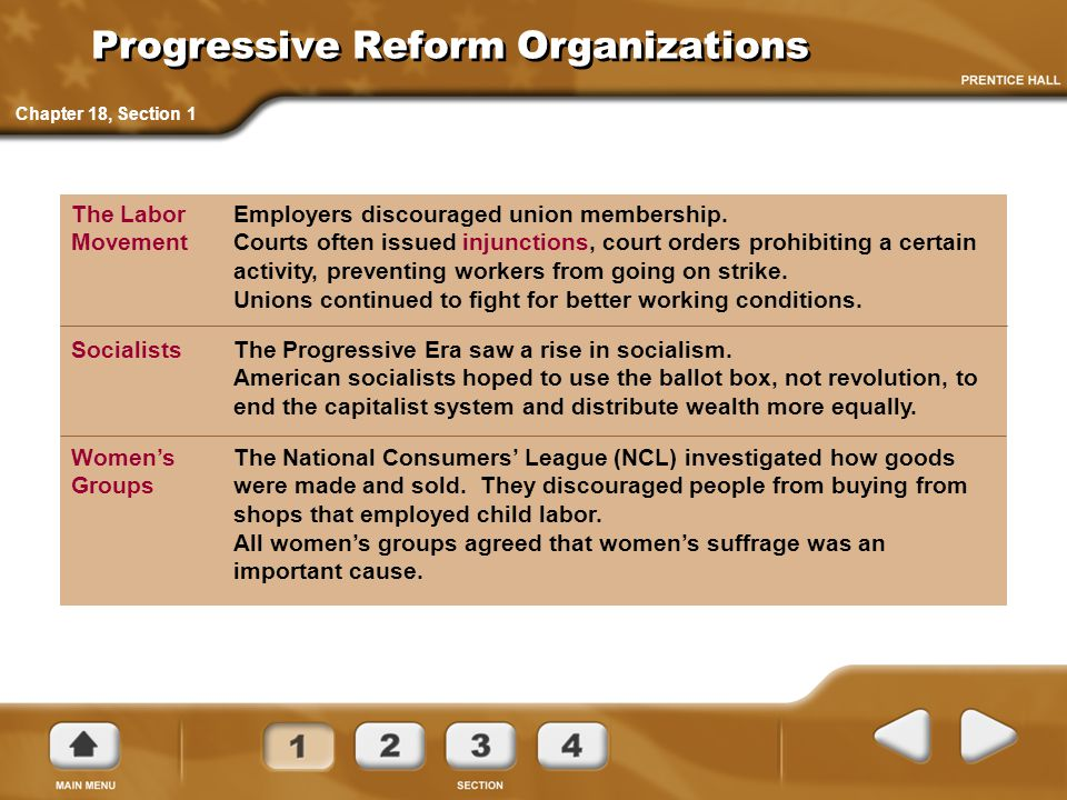 Employers discouraged union membership. Courts often issued injunctions, court orders prohibiting a certain activity, preventing workers from going on