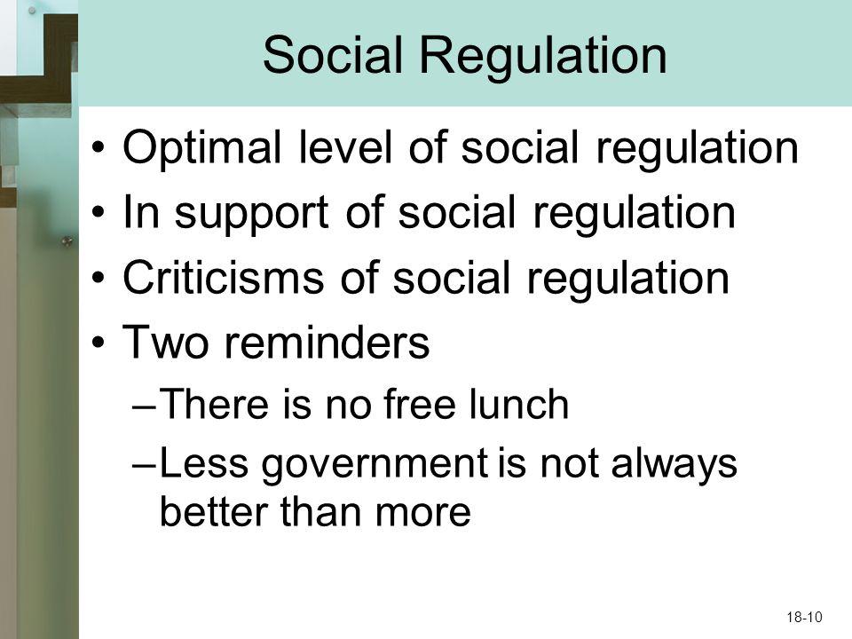 Social Regulation Optimal level of social regulation In support of social regulation Criticisms of social regulation Two reminders –There is no free l