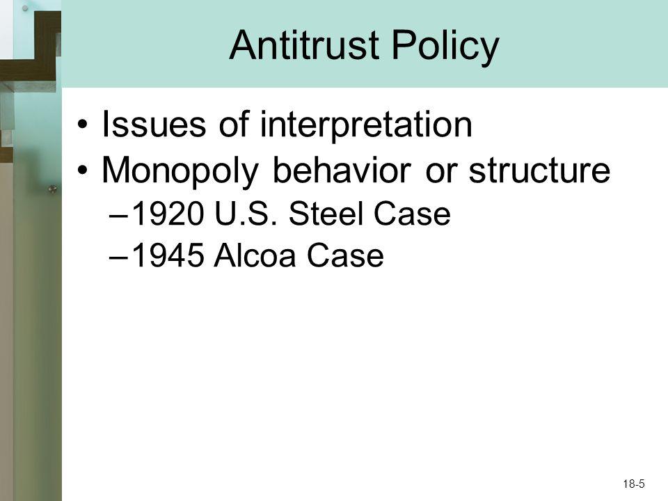 Antitrust Policy Issues of interpretation Monopoly behavior or structure –1920 U.S. Steel Case –1945 Alcoa Case 18-5